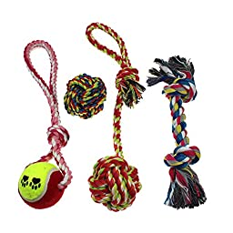 Interactive Cotton Rope Dog Toys - 4 Pack Gift Set,For Small to Medium Dogs