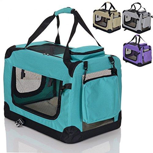 faltbare-Hundetransportbox-gepolsterte-Haustier-Reise-Autobox-Welpen-Katzen-Tragetasche-mit-Henkel-Grn-Gr-L