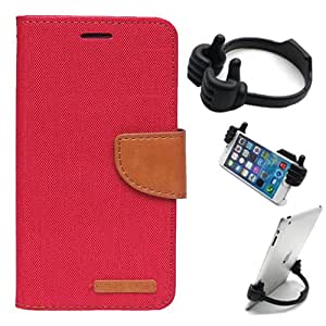 Aart Fancy Wallet Dairy Jeans Flip Case Cover for LenovoA-6000 (Red) + Flexible Portable Mount Cradle Thumb OK Designed Stand Holder By Aart Store.