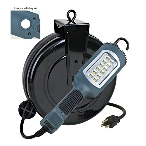 Professional LED Retractable Cord Reel Shop Garage Work Light 500 Lumens 30ft 16/3 SJT Cord 5030ah