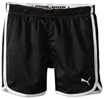 PUMA Girls 7-16 Foldover Mesh Short, Black, Large