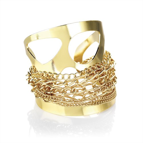 Chain Detail Fashion Cuff Bangle Gold