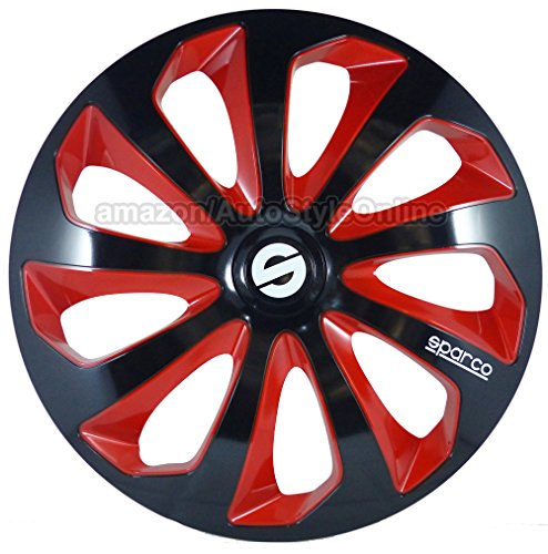 SPARCO SPC1673BKRD Wheel Covers, 16-inch, Sicilia Black/ Red, Pack of 4