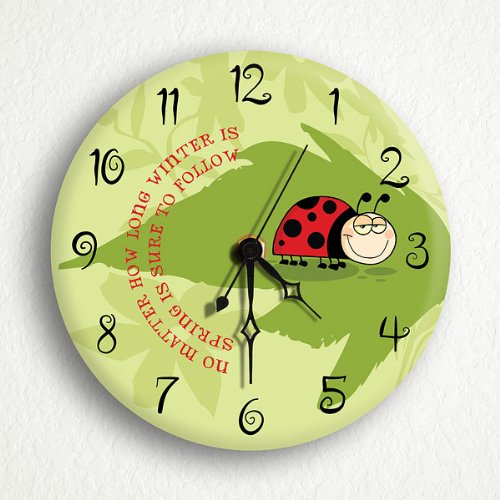 "Ladybug Winter Spring 6"" Silent Wall Clock"