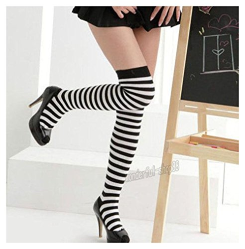 Women Warm Nylon Striped Sexy Thigh High Tights Hosiery Christmas Stockings New Color:Black/White (Black And Yellow Striped Nylon Stockings)