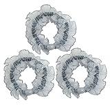 3 Pcs Light Blue Organza Ruffles Flexible Ponytail Holder Hair Tie for Woman