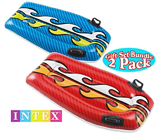 Why Should You Buy Intex Joy Rider Surf 'n Slide Pool Floats Red & Blue Gift Set Bundle - 2 Pack