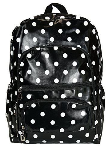 gfm-gloss-finish-pvc-oilcloth-waterproof-backpack-934-polka-kl-rucksack-for-school-college-gym-sport