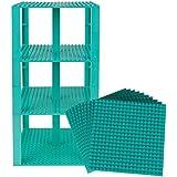 "Premium Turquiose Stackable Base Plates 10 Pack 6"" X 6"" Baseplate Bundle With 80 Turquiose Bonus Building Bricks..."