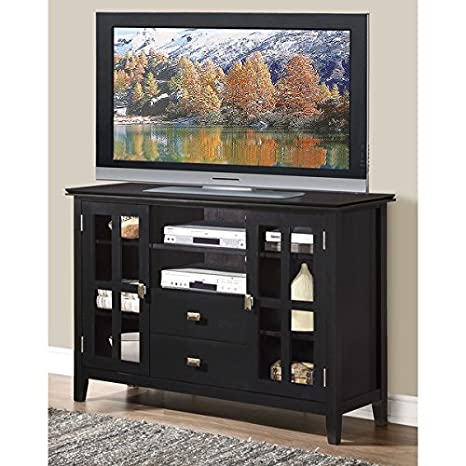 Tall Black Tv Stand Wood Home Entertainment Center Media Cabinet with Adjustable Shelves, Audio Video Storage Unit