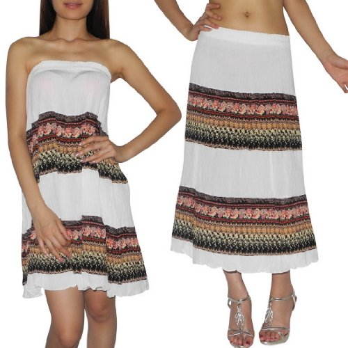 Womens Thai Boho Flowing Gathered / Smocked Bodice Crinkle Summer Dress / Skirt - Size:one size