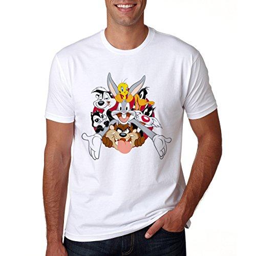 bugs-bunny-con-amici-maglietta-da-uomo-bianco-xxl
