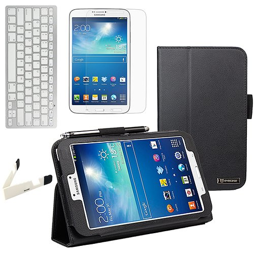 BIRUGEAR Auto Sleep/Wake Black SlimBook Leather Stand Case with Screen Protectors & Keyboard for Samsung Galaxy Tab 3 8.0 - 8 inch Tablet (SM-T3100 / SM-T3110, Wifi / 3G, 4G LTE)