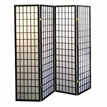 4 panel Shoji Screen Room Divider Black