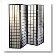 4-Panel Black Shoji Screen Room Divider