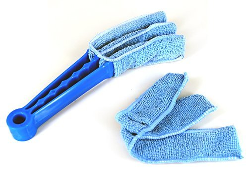 Umiwe(Tm) Microfibre Triple Blind Cleaner Mitt Venetian Slats Blinds Duster,Blue With Umiwe Accessory
