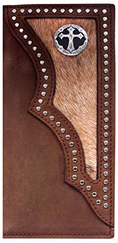 Custom 3D Belt Co. Ornate Cross Long Rodeo Checkbook Wallet Hair on Hide Brown
