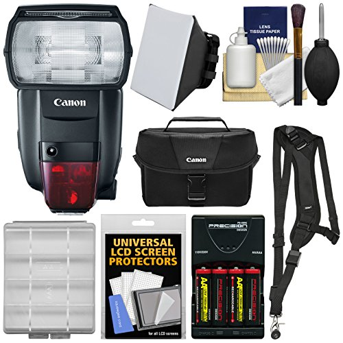 Canon-Speedlite-600EX-II-RT-Flash-with-Case-Batteries-Charger-Soft-Box-Sling-Strap-Kit-fro-EOS-Digital-SLR-Cameras