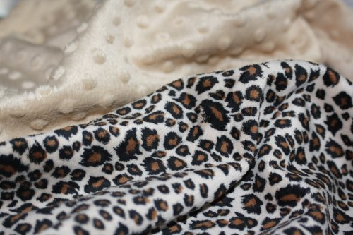 "Minky Blanket - Baby Blanket, Toddler Blanket, Child Blanket, Cheetah Minky Print with Camel Minky Dot - Medium Baby Blanket (@29""x35"")"