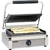 Piastra grill per panini Casselin CGPLR con 1 piastra inferiore lisca ed 1 piastra superiore rigata Base in acciaio...