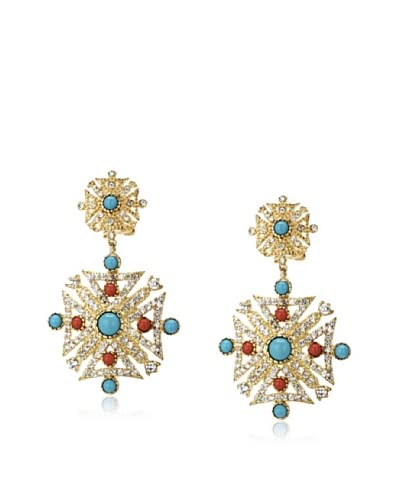 CZ by Kenneth Jay Lane Turquoise & Coral Drop Earrings