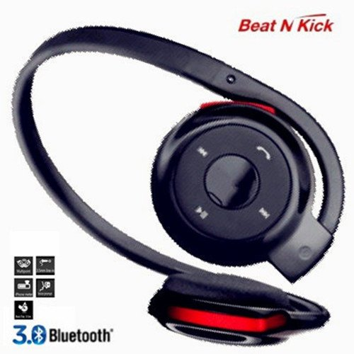 Beat N Kick Black/Red Hd Sound Stereo Wired/Wireless Microphone Hands Free Headset, Comfortable Sport Style, Super Clarity, Multipoint Pair To Two Devices, Remote Siri Function, Voice Promote, Ios Battery Meter, Noise Isolation, With 3.5Mm Aux Output, Ez