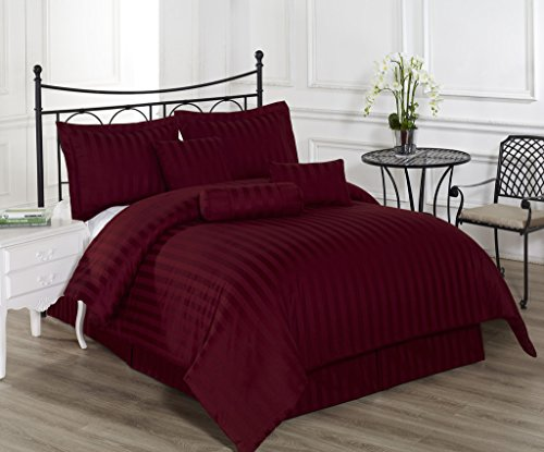 Royal Calico QUEEN BURGUNDY 7 Piece Comforter Set, Damask Stripes 100% Cotton Bed Cover (Target Queen Comforter Set compare prices)