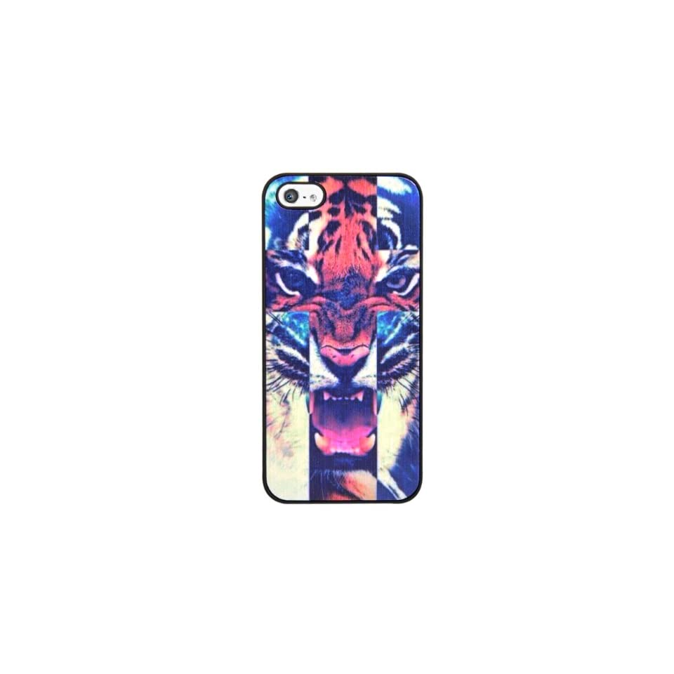 24/7 Cases iPhone 5/5s Fierce Tiger Case with 1 screen protector kit (kit includes 1 piece clear screen protector, a 24/7 cleaning cloth, dust removal tape and a smoothing card)