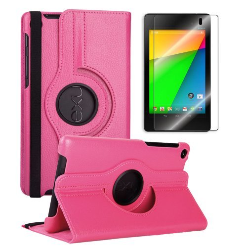 Best  FHD 360 Rotating PU Leather Case Pouch Cover Skin [Hot Pink] for Google Nexus 7 2nd Gen+Free Crystal Screen Protector - 2013 NEW