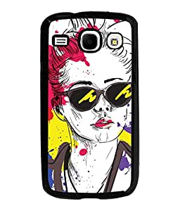 Fuson Colorful Google Girl Back Case Cover for SAMSUNG GALAXY COREi 8262 - D3785