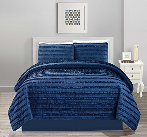All American All American Collection New 4pc Pleated Ruffle Bedspread/Quilt Set with Bedskirt (King Size, Navy Blue) (Modern Quilts King Size compare prices)