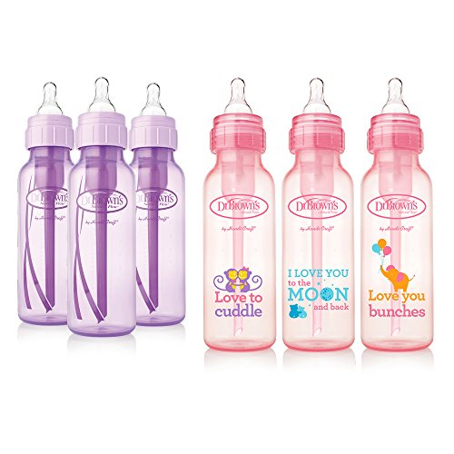 Dr. Brown's Baby Bottles Girls 6 Pack - 3 (8 oz) Lavender and 3 (8 oz) Pink bottles with new print (New Mom Starter Kit compare prices)