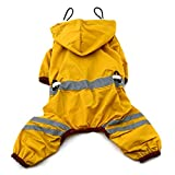 Urparcel Puppy Pet Dog Raincoat Glisten Bar Hoody Waterproof Rain Jackets Yellow Large