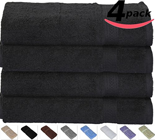 Cotton-Hand-Towels Gym-Towels SPA-Towels Black 4-Pack - (16 inches x 28 inches) Ringspun Cotton for Maximum Softness and Absorbency, Easy Care - By Utopia Towels