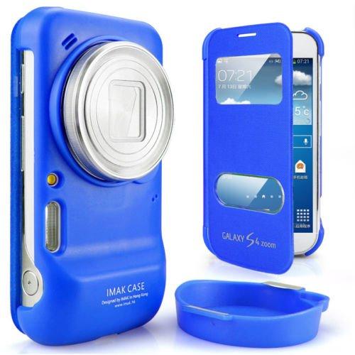 IMAK フリップ PU レザー ハードシェル カバー ケース For サムスン Samsung C101 GALAXY S4 Zoom (ブルー)