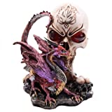Gothic Dark Legends Dragon w Skull & Fire Eyes Ornament Figurine Statue Figure