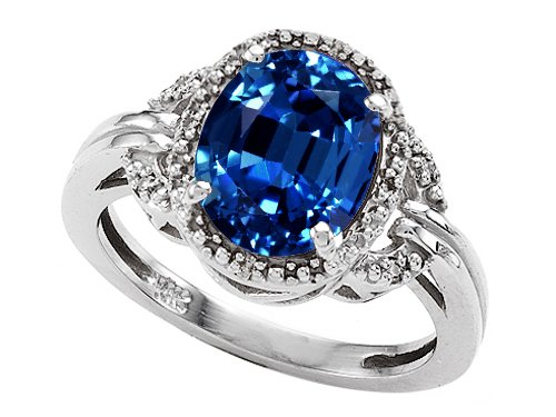 3.04 cttw 14k Gold Lab Created Oval Sapphire and Diamond Ring - 14kt White or Yellow Gold