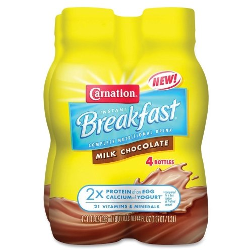 Carnation Instant Breakfast To-Go Bottle - Milk Chocolate - 11oz - Ready-server - 16 / Carton - Yellow