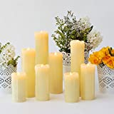 Set of 8 Assorted Ivory Wax Drip Slim Flameless Candles with Remote