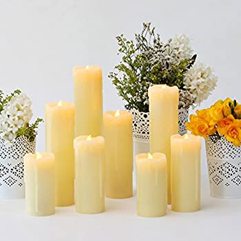 Set of 8 Assorted Ivory Wax Drip Slim Flameless Candles with Bright Warm White LEDs, Remote Included Featuring Dimmable and Timer Options