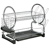 Premier Housewares 2 Tier Dish Drainer with Removable Drip Tray Black and Chrome