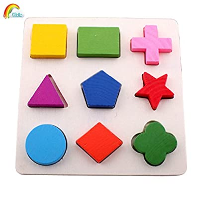 YIXIN Wooden Geometric Shape Sorter Puzzle Board Building Block Toy Puzzle Bricks for 2-year-old Early Education ...