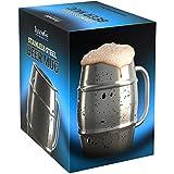 Innovee Beer Mug - Boccale in Acciaio Inox Premium / Tazza da Caffè con Coperchio Bonus - 500ml a Doppia Parete che Isola l'Aria - Nessuna Condensa - Può Essere Congelato - Usalo per la Birra, le Bibite Calde e Altro