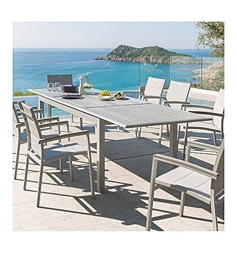 Table extensible Azua en bois 10 personnes gris structure silver mat