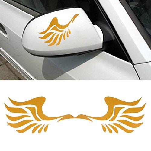 Tonsee Mode Auto Flügeldesign 3D Dekoration Aufkleber für Auto Seite Spiegel Rearview (gelb)