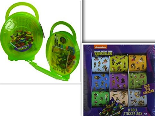 Teenage Mutant Ninja Turtles Stationary & Arts & Crafts Back to School Bundle - 2 Items: Pencil Box Set In Translucent Dome Shaped & 3D Molded Turtle Back Front with Comfortable Handle (With Mini Journal, 3 Sticker Sheets, 2 #2 Pencils Made of Real Wood, 4 Markers, 4 Diecut Erasers, & Sharpener) & A 9 Roll Sticker Box with Over 200 Stickers
