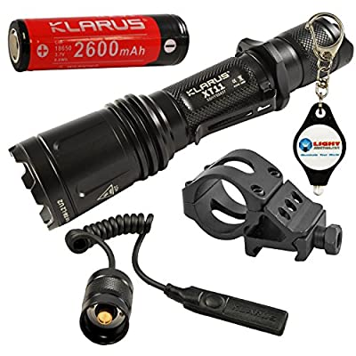 "BUNDLE: Klarus XT11 CREE XM-L2 U2 LED Flashlight STEALTH BLACK 18650 Battery Included w/ 1"" Offset Tactical Weapon Mount, TR10 Pressure Switch, and LightJunction Keychain light from Klarus"