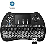 RiiTek H9+- Mini Wireless Keyboard And Mouse (Touchpad) Combo With Keyboard Back-light, Smart Function, Multi Media Keyboard And Compact & Handy Design, Compatible With SMART TV, ANDROID TV BOX,Android TABLETS, 360XBox, PS3 HTPC IPTV (2.4G Black)- By