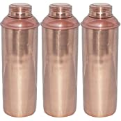 Thermos Water Bottle With Lid Pure Copper For Ayurvedic Health Benefits, Set Of 3