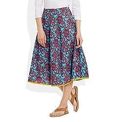 Womens Apparels Cotton Printed Medium Length Skirt A-Line,Large,W-CMLSL-3012